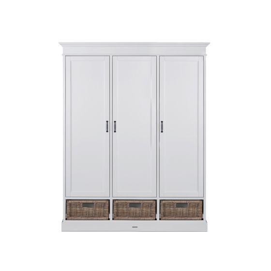 La Première Weiß Rattan Schrank 3 Türen