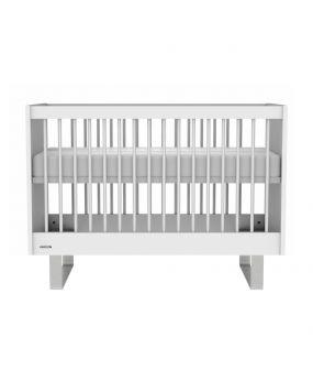 Intense Weiß / Edelstahl - Bett 60x120
