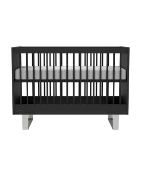 Intense Schwarz / Edelstahl - Bett 60x120