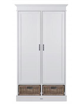La Première Weiß / Rattan - Schrank (2 Türen)
