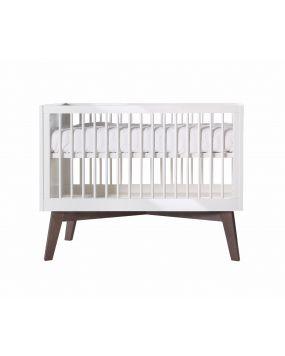 Sixties Weiß Hochglanz / Dunkel Kiefer - Bett 60x120